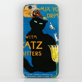 Mix Your Drinks with Catz (Cats) Bitters Aperitif Liquor Vintage Advertising Poster iPhone Skin