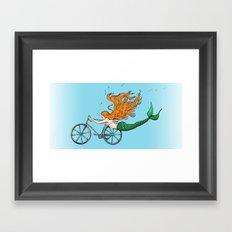 Mermaid on a Bike in Blue Framed Art Print