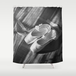 Ballet dance shoes. Black and White version. Shower Curtain