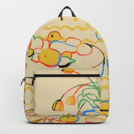 YELLOW TULIPS, WINE AND CHEESE Backpack