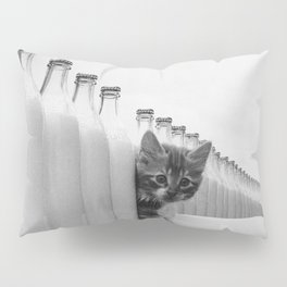 You Did Not See That! - Kittens knocking over Glass Bottles of Milk black and white photograph / photography Pillow Sham