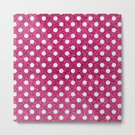 Rose Glitter dots Metal Print