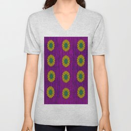 Abstract Peacock and floral pattern Unisex V-Neck