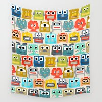 robots Wall Tapestries featuring summer baby robots by Sharon Turner