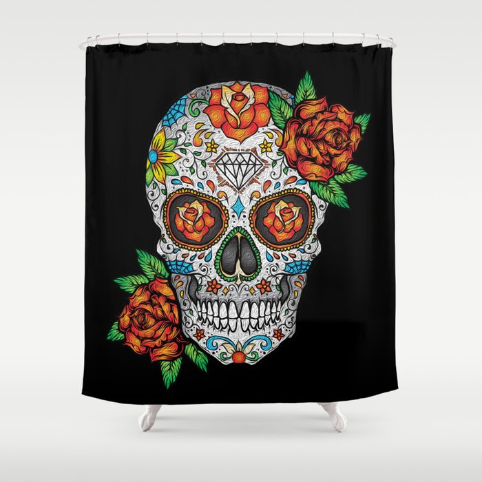 Sugar Skull Day Of The Dead Shower Curtain