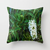 rileigh smirl Throw Pillows featuring Daisies by Rileigh Smirl