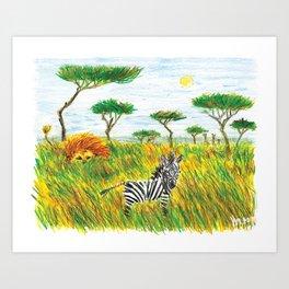 Careless zebra Art Print