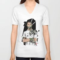real madrid V-neck T-shirts featuring Football Legends Cristiano Ronaldo Real Madrid Robot by Akyanyme