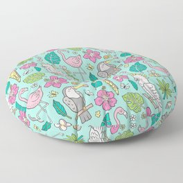 Tropical Jungle Birds Toucan Flamingo and Pink Hibiscus Floral Flowers Leaves Paradise Mint Floor Pillow