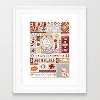 erykah badu Framed Art Prints featuring Erykah Badu Print by Lucy Llewellyn