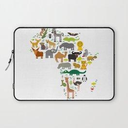 map of Africa: parrot Hyena Rhinoceros Zebra Hippopotamus Crocodile Turtle Elephant Mamba snake Laptop Sleeve