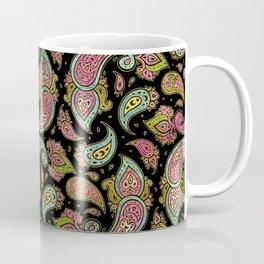 Pink and Blue glitter Gold Paisley  on black Coffee Mug