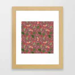 Hand painted green red white Christmas socks candy pattern Framed Art Print
