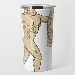 Hercules With Bottled Up Angry Octopus Drawing Travel Mug