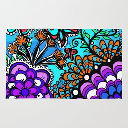 Doodle Art Flowers and Butterflies Rug