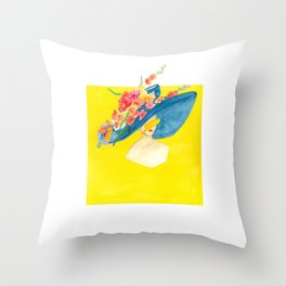 Floral hat Throw Pillow