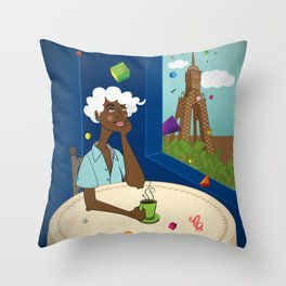 Coffee in the Boulevard Throw Pillow