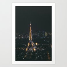 Eiffel Tower Light Show Art Print