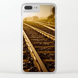 Railway Tracks at sunrise and twilight sky Clear iPhone Case