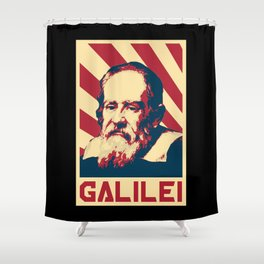 Galileo Galilei Retro Propaganda Shower Curtain