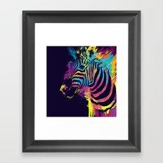 Zebra Splatters Colorful Animals Framed Art Print