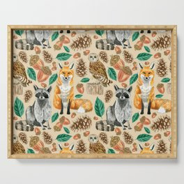 Woodland Creatures Illustrated Watercolor Pattern Serving Tray