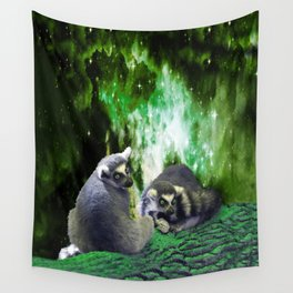 Lemurs on the Emerald Green Knolls Wall Tapestry
