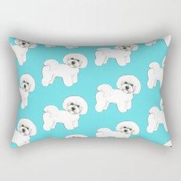 Bichon Frise on aqua / teal / cute dogs/ dog lovers gift Rectangular Pillow