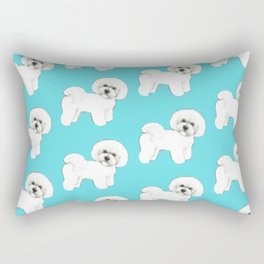Bichon Frise on aqua / teal / cute dogs/ dog lovers gift Rectangular Pillow