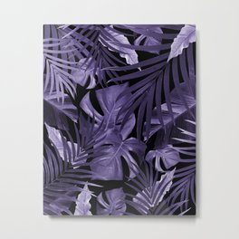 Tropical Jungle Night Leaves Pattern #4 Ultra Violet #tropical #decor #art #society6 Metal Print