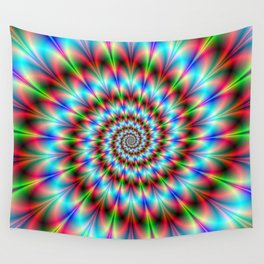 Spiral Rosette in Blue Green and Red Wall Tapestry
