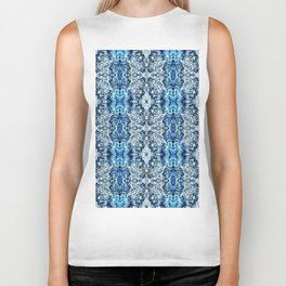 Beautiful Blue Foklore Damask Pattern Biker Tank