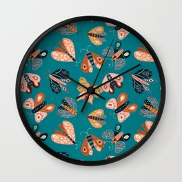 Moth Specimens – Teal Wall Clock