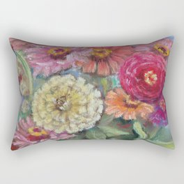 Autumn FLOWERS in the garden Still Life Pastel drawing Pink Purple Decorative Painting Rectangular Pillow