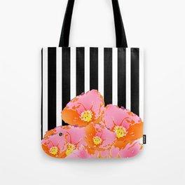 Poppy Stripes - Pink Tote Bag