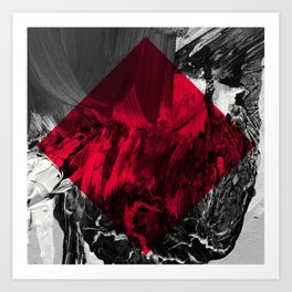 Waves // black and white abstract painting w/ red diamond Art Print