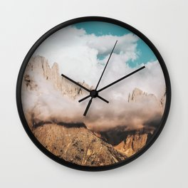 Mountains in Clouds.  Nature Landscape Photography Wall Clock