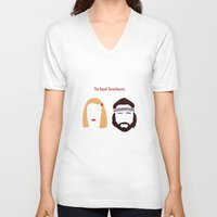 the royal tenenbaums V-neck T-shirts featuring The Royal Tenenbaums, Margot, & Richie by bonieiji