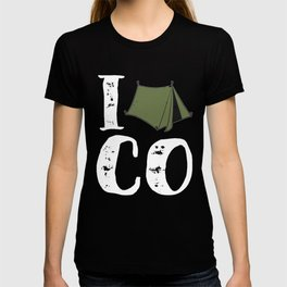 Native Colorado Gifts CO Tent Pride Mountains I Camp Olive T-shirt