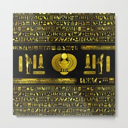 Ancient Egyptian Scarab Gold Obsidian Metal Print