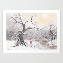 Gnome and fox Art Print