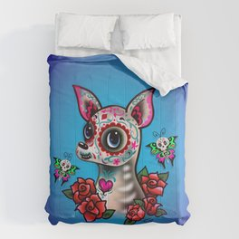 Sugar Skull Chihuahua with Roses Comforters