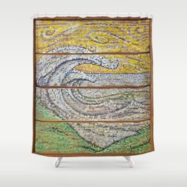 Waves on Grain Shower Curtain