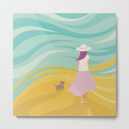 Listen to the Ocean (Girl and Cat Vector Graphic Illustration) Metal Print