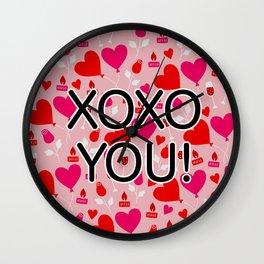 Valentine XOXO YOU Heart Pattern Wall Clock