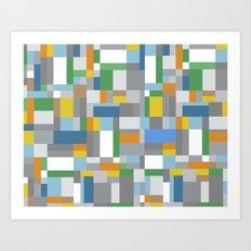 Grey Orange Map Art Print