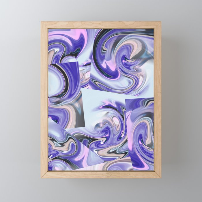 Purple & blue flow Framed Mini Art Print