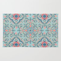 bedding Area & Throw Rugs featuring Gypsy Floral in Red & Blue by micklyn