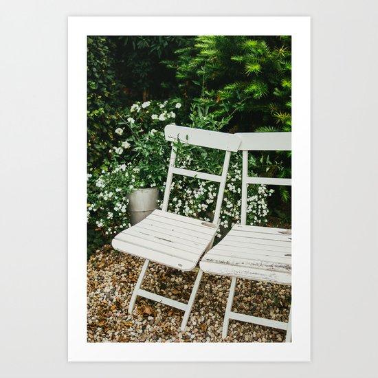 English Garden Chairs Art Print