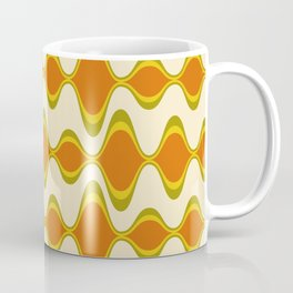 Retro Psychedelic Wavy Pattern in Orange, Yellow, Olive Coffee Mug